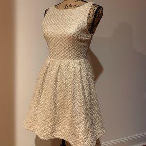 Alice + Olivia Cream & Metallic Flared Dress